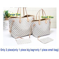 Louis Vuitton LV Fashion Women New Monogram Check Shopping Shoulder Bag Handbag Two Piece Suit Bag White Tartan