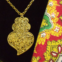 Portugal gold filigree Viana heart folk necklace Portuguese jewelry heart pendant