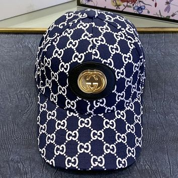 GUCCI New fashion more letter print couple cap hat Blue