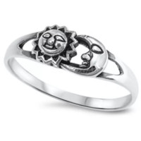 Fashion 925 Sterling Silver Brother Sun & Sister Moon 6MM Ring-0601
