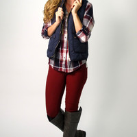 Teleah Quilted Vest: Navy