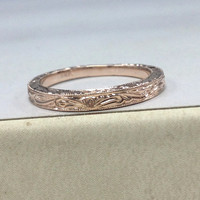 14K Rose Gold Wedding Ring,,Milgrain Floral Filigree,Eternity Matching Band,Anniversary Fine Ring,Stackable,Unique Design,Fashion New
