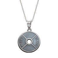 Insignia Collection Sterling Silver Weight Plate Pendant Necklace (Grey)