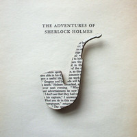 PRE ORDER- Sherlock Holmes - Pipe brooch. Classic book brooches made with original pages.