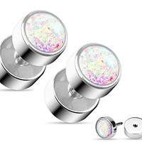 Opal Glitter Fake Cheater Plugs Stud Earrings - 16g, 316L Surgical Steel - Sold as Pair (White Imitation Opal)