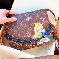 LV Fashion New Monogram Print Leather Shopping Leisure Shoulder Bag Handbag Crossbody Bag Coffee