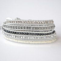Wrap Bracelet Gray Cord | Siver Crystals