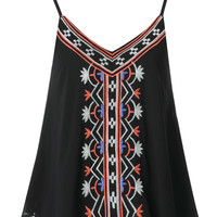 Black Embroidered Cami Vest