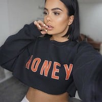 Hoodies Winter Alphabet Women's Crop Top Pullover T-shirts [167761608719]