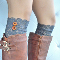 Charcoal Gray Lace Boot Cuffs with cute brown buttons