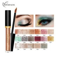 2017 NICEFACE Liquid Eye Shadow Shimmer Glitter Nude Metals Glow Eyeshadow Palette Waterproof Lasting Highlighter Beauty Makeup