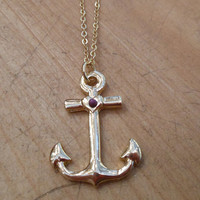 Shiny Gold Anchor Necklace   Candy's Cottage