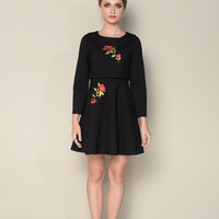 Black Floral Embroidered Long Sleeve Blouse And Flounce Mini Skirt Set