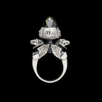 Sterling Silver Winged Gargoyle Urn Ring with Cubic Zirconia