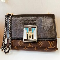LV New fashion monogram print leather chain shoulder bag crossbody bag