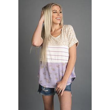 Lilac Leopard Striped and Floral Colorblock Top (S-XL)