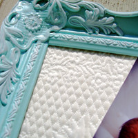 Magnetic Beautiful Antique  Inspired Ornate Frame 14 x 18- Antique Framed Matelasse Fabric Board-  Robin Egg Blue