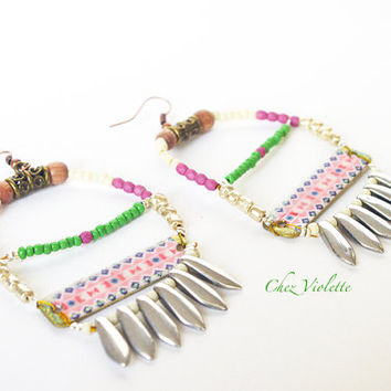 Hand Crafted Navajo Beaded Earrings Native american style jewelry