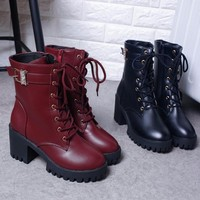 Free Shipping  Women Boots Vintage&England Lace-up Boots Chunky Heel Martin Boots Fashion Footwear Boots Shoes For Autumn Winter