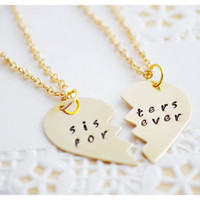Best Friends Necklaces - Brass & Gold Filled - Sister Jewelry - Personalized Jewelry - Big Sister Little Sister - Hand Stamped Necklace