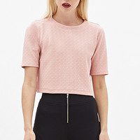 FOREVER 21 Boxy Textured Crop Top Light Pink