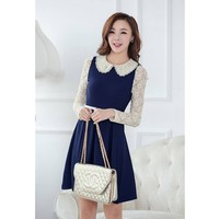 Vakind® Elegant Womens Lace Preppy Style Peter pan Collar Long Sleeve Pleated Dress (M, Blue)