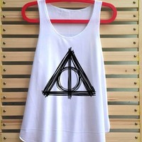 Deathly hallows shirt tank top Harry potter clothing characters wands hogwarts