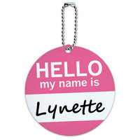 Lynette Hello My Name Is Round ID Card Luggage Tag