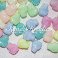 50 Skull Pony Beads 14mm x 12mm Pastel for Kandi Rave Raver Day of the dead paracord Party favors Kid Craft blue green yellow Braids pink