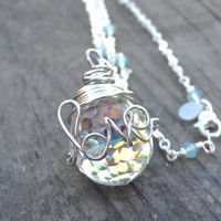 Silver LOVE Wire Wrap Crystal Ring Necklace Wire Writing Pendant with removable handmade ring