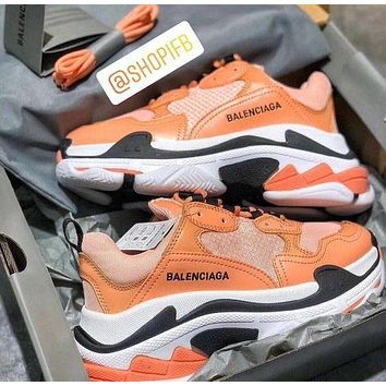 BALENCIAGA Triple S High Quality Fashion Women Contrast Color Shoes Sport Sneakers Orange&Pink