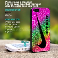 Nike Just Do It Rainbow Sparkle - For iPhone 5 Black Case Cover