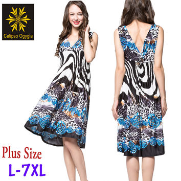 6XL, 7XL Summer Leopard Dress Fashion Women Body Sheath V neck Hot Print  Sleeveless Vestidos Femininos Big size C05040