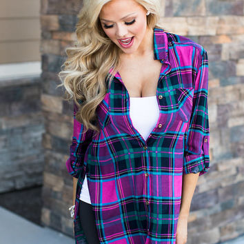 Hold on to Me Plaid Tunic Magenta