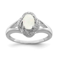 Sterling Silver Diamond & Created Opal Ring