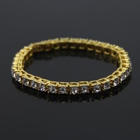 Hip Hop Gold Chain 1 Row 5mm Round Cut Tennis Chain Bracelet 7.8 inch Length Mens Punk Iced Out