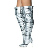 Womens Mini-81 High Heel Boot Silver