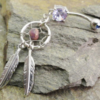 Dream Catcher Belly Button Ring Jewelry Amethyst by MidnightsMojo