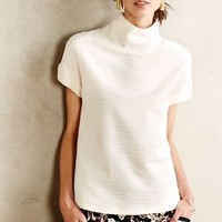 Ribbed Funnelneck Tee by Anthropologie Ivory