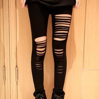 Black Ripped Leggings