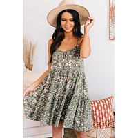 Floral Fantasy Tiered Babydoll Dress (Sage/Rose)