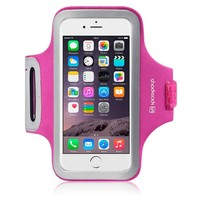 iPhone 6S Armband, Shocksock Reflective Sports Gym Bike Cycle Jogging Armband with Dual Arm-Size Slots and Key Pocket Custom Made for iPhone 6 / 6S (Hot Pink)