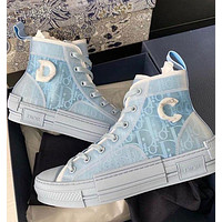 Dior new simple canvas high-top sneakers shoes