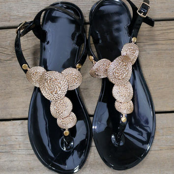 Cape Town Gold Coin Black Jelly Sandals