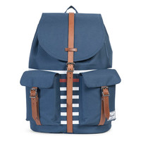 Dawson Backpack Navy Offset Stripe / Veggie Tan Leather