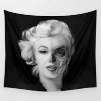 Dead Celebrities Series Half Skull Wall Tapestry by Kristy Patterson Design