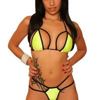 Sexy Caged Style Neon Bikini Pole Dancers Clothing