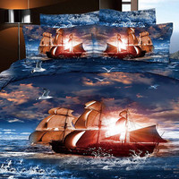 Duvet Cover Set 100% cotton 4 pc Queen Bedding Travel in the Sea bed linen Lovers Duvet/Quilt covers setDuvet Covers King / Queen