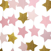 Blush Pink and Gold Star Garland // Pink Party Decorations // Wedding // Baby Shower // Photo Booth Backdrop