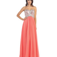 Sequins & Jeweled Strapless Gown 2015 Prom Dresses